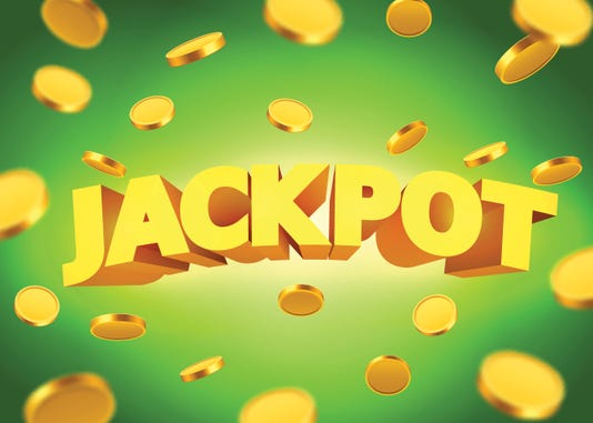Jackpot Sign With Gold Realistic 3d Coins Background