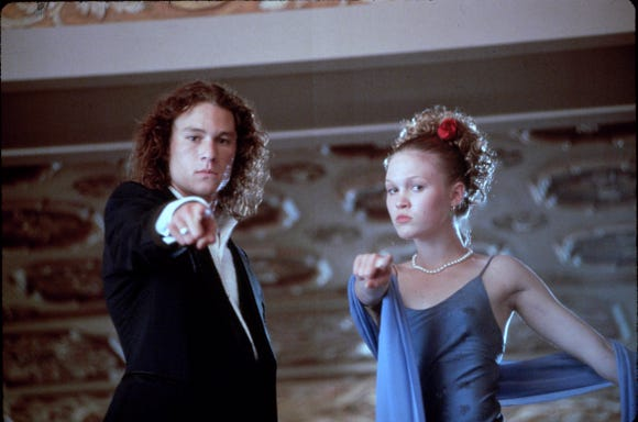 """Heath Ledger and Julia Stiles star in """"10 Things I Hate About You."""""""