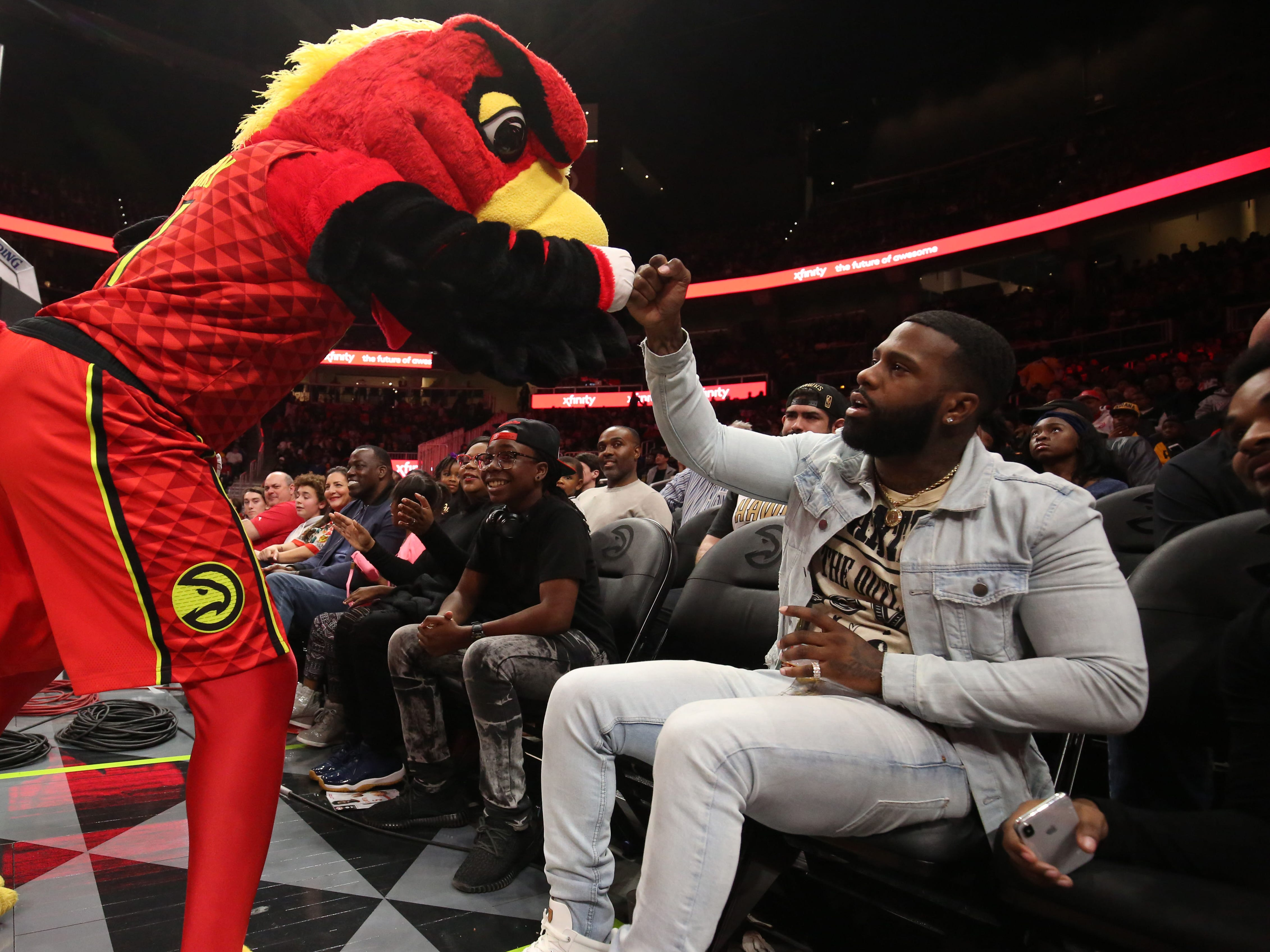 Dec, 26: Atlanta mascot Harry the Hawk tries to fire up the crowd during the second half against the Pacers.