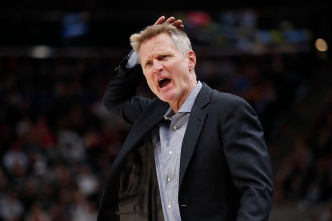 Golden State Warriors coach Steve Kerr reacts in the second quarter against the Utah Jazz at Vivint Smart Home Arena.