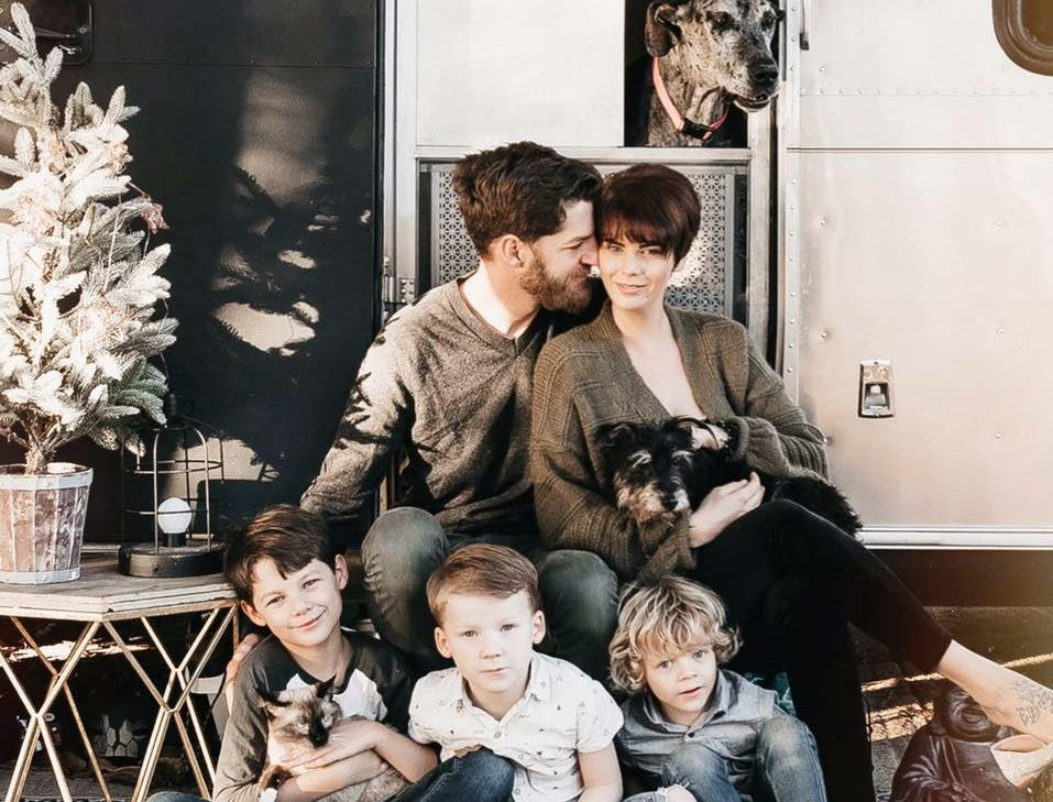 (Left to Right) Eric, Ashley, Matthew, Emerson and Charlie Frantz have been on the road for over a year. The family travels in a renovated Airstream they call Stanley.  Molly the Great Dane, Bone Crusher and Toby the cat also pictured.
