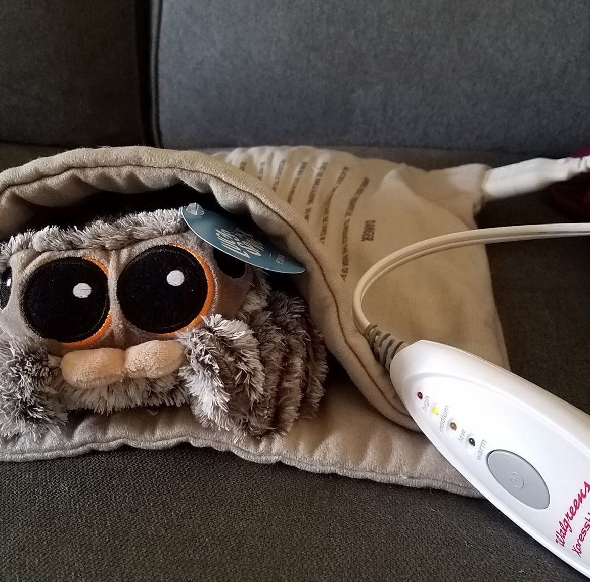 Lucas the Spider Plushie voice box not working? Some people recommend using a heating pad and warming him up.