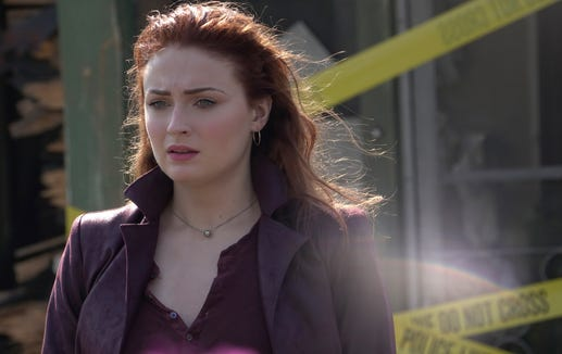 "Powerful telekinetic Jean Grey (Sophie Turner) becomes a pawn in a cosmic conflict when her abilities grow stronger and more unstable in the X-Men film ""Dark Phoenix."""