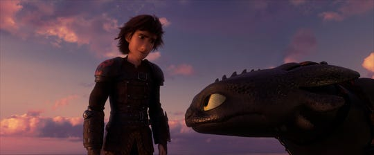 "Hiccup (voiced by Jay Baruchel) and his Night Fury dragon pal Toothless embark an epic final adventure in the animated fantasy ""How to Train Your Dragon: The Hidden World"" (Feb. 22)."