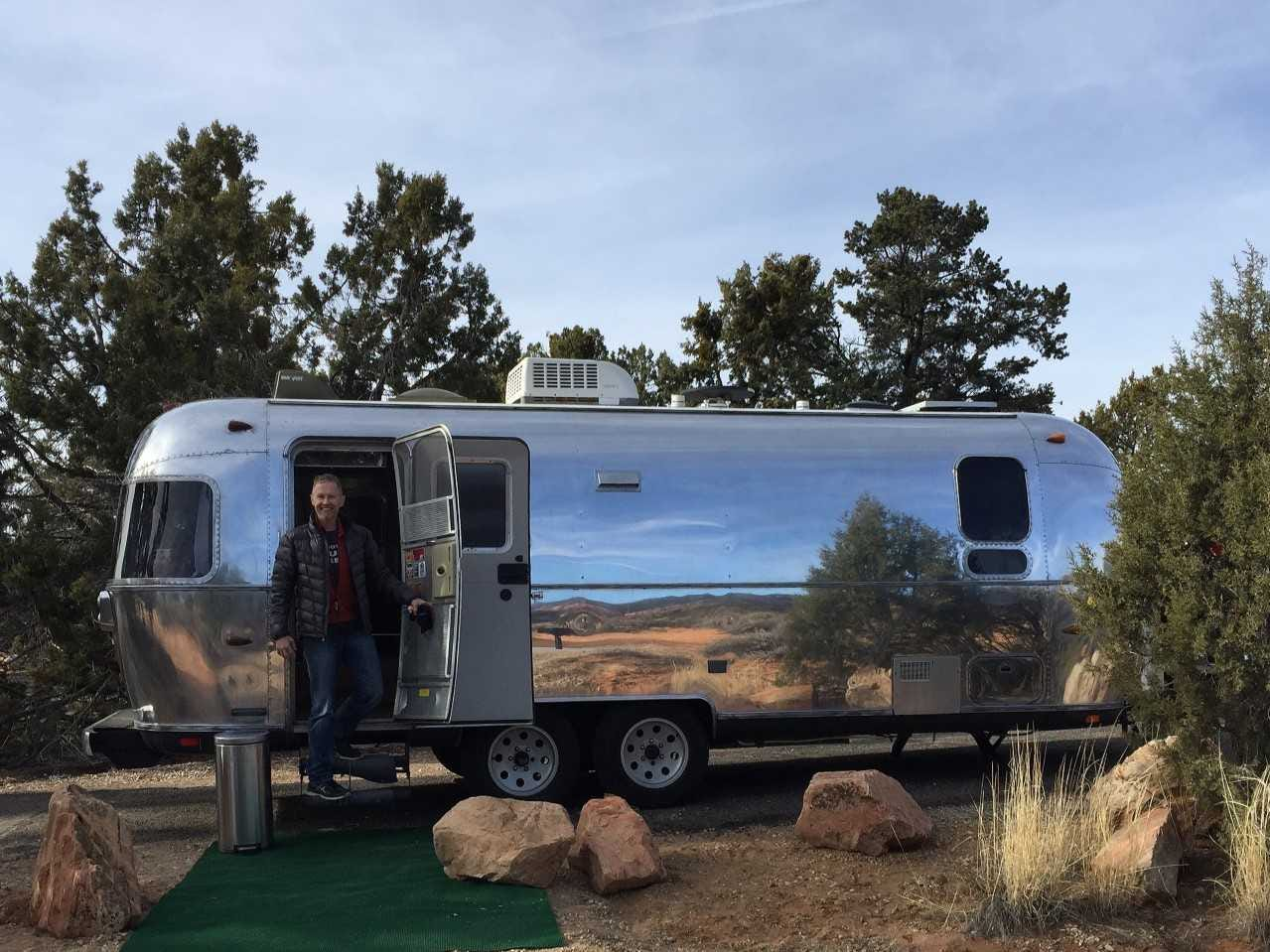 Justin Larson has owned and refurbished four Airstreams to date. This photo was taken on Christmas Eve in Coral Pink Sand Dunes State Park, Utah.