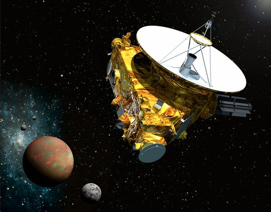 An artist's idea of the New Horizons probe as it was zoomed in 2015 by Pluto. The plane will fly past the distant space rock Ultima Thule early on New Year's Day.