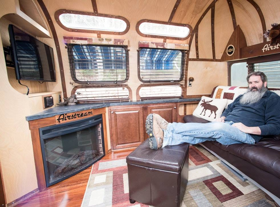 Jim Roy of Monmouth, Maine in his 1975 Airstream Sovereign.