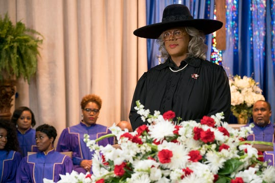 "Tyler Perry puts on the wig and women's clothing as his irascible grandmother character Madea in the comedy ""A Madea Family Funeral"" (March 1)."