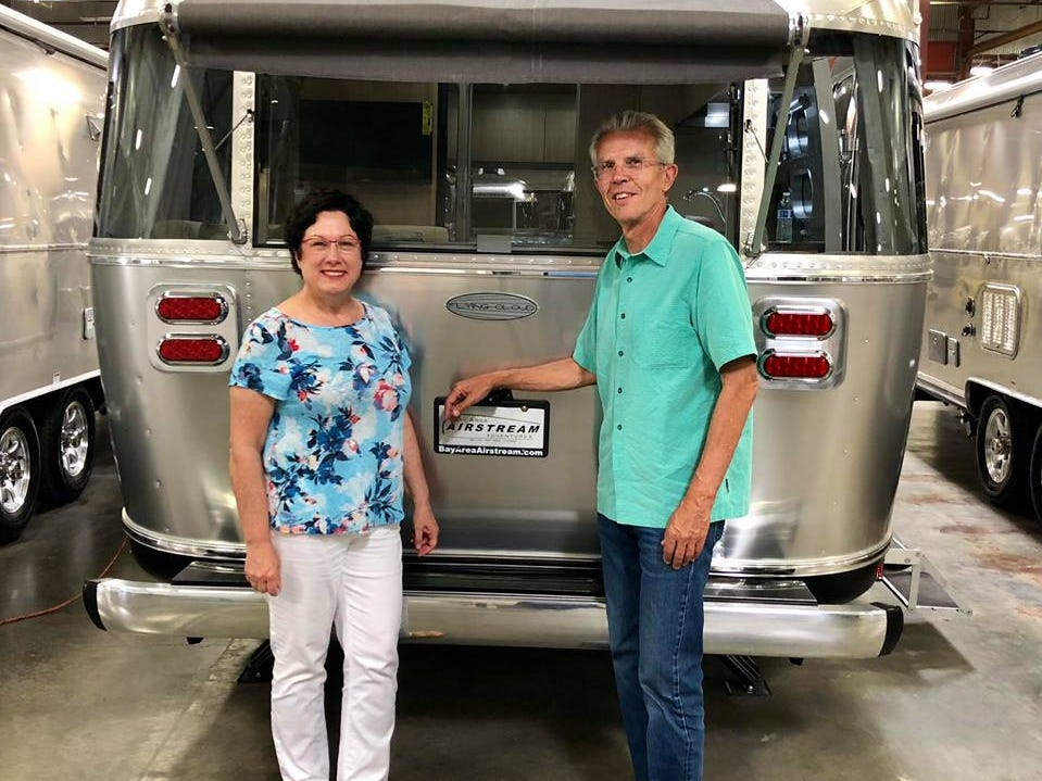 """Edie (Left) and Tim Biddle are """"newbies."""" The couple picked up their Flying Cloud in late 2018."""