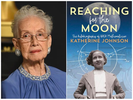 "This combination photo shows, Katherine Johnson in the press room at the Oscars in Los Angeles on Feb. 26, 2017, left, and her book ""Reaching For the Moon: The Autobiography of NASA Mathematician Katherine Johnson. (Photo by Jordan Strauss/Invision/AP, left, and Atheneum Books for Young Readers)"