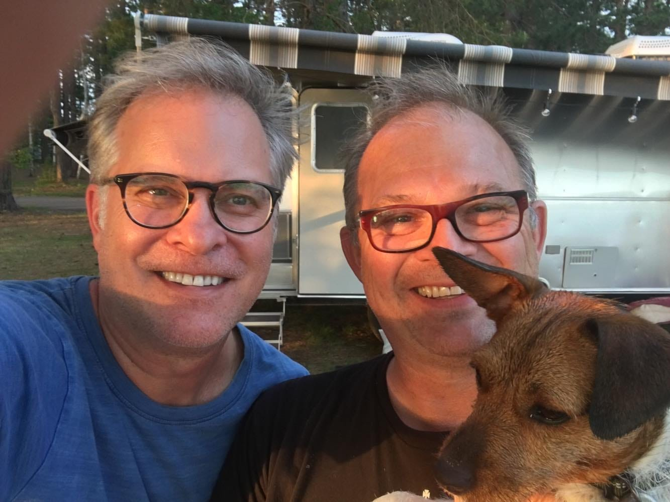Grant Cover (left) and his husband Mark Phillips have a 2018 Airstream Globetrotter.