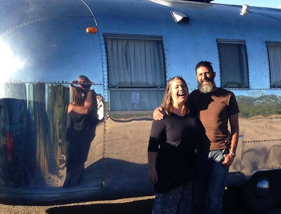 Elizabeth Jose (left) is a British artist living in Taos, New Mexico. She and her husband (right) renovated a 1966 Trade Wind Airstream trailer that they now travel in.