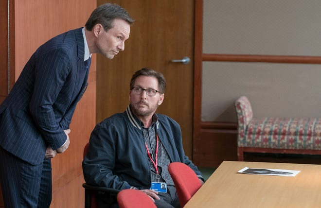 """Emilio Estevez (center, with Christian Slater) directs and stars in """"The Public"""" (spring 2019), about the conflict between patrons and officials stuck in a Cincinnati library during a nasty arctic blast."""