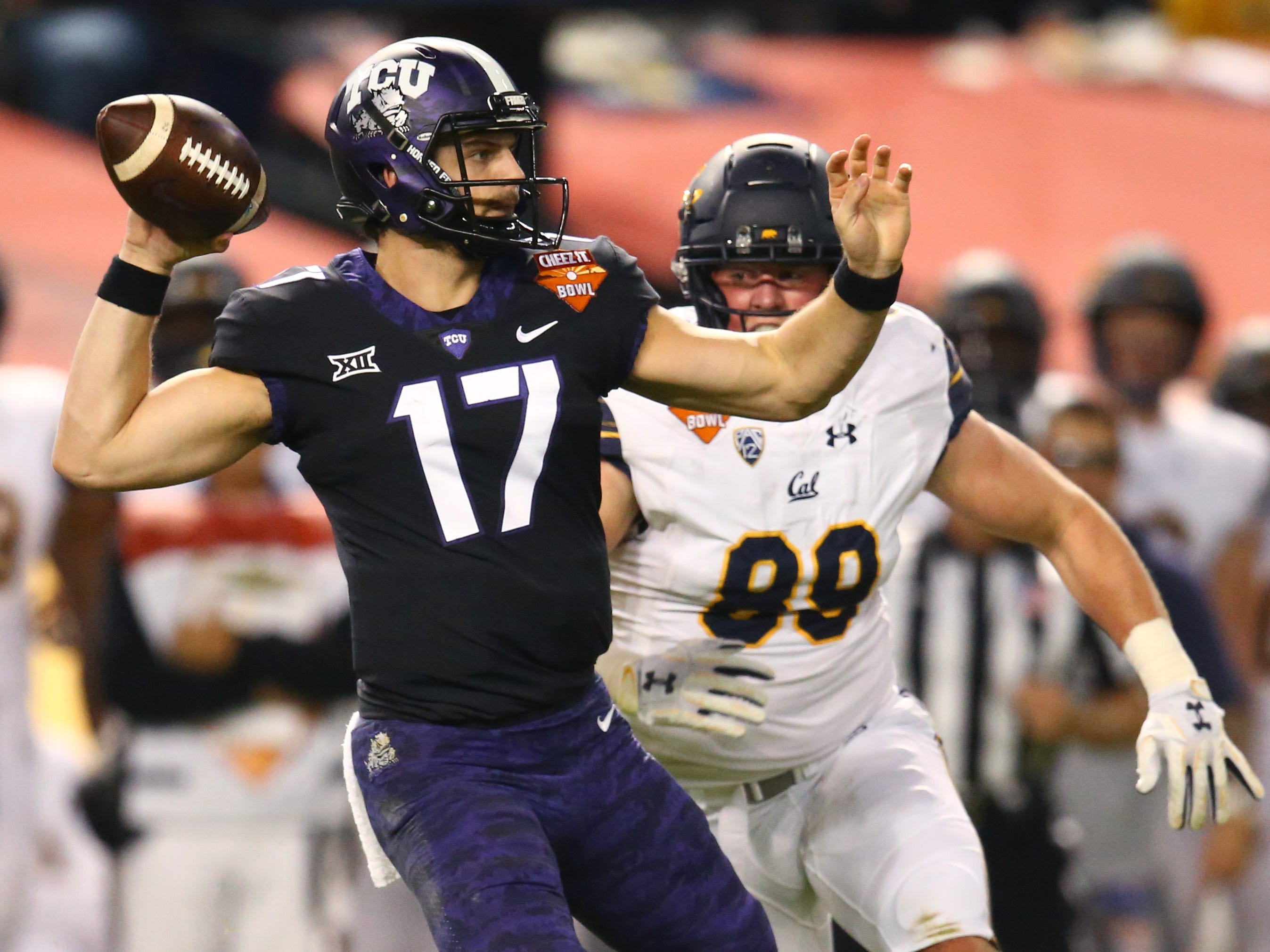 TCU quarterback Grayson Muehlstein throws a pass against California in the Cheez-It Bowl at Chase Field. Muehlstein threw four interceptions in the game, which the Horned Frogs won, 10-7, in overtime.
