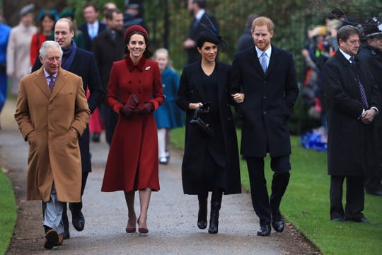 Prince Charles, Prince William,  Duchess Kate of Cambridge, Duchess Meghan of Sussex and Prince Harry arrive to attend Christmas Day service at St Mary Magdalene on the Sandringham estate on Dec. 25, 2018 in Norfolk, England.