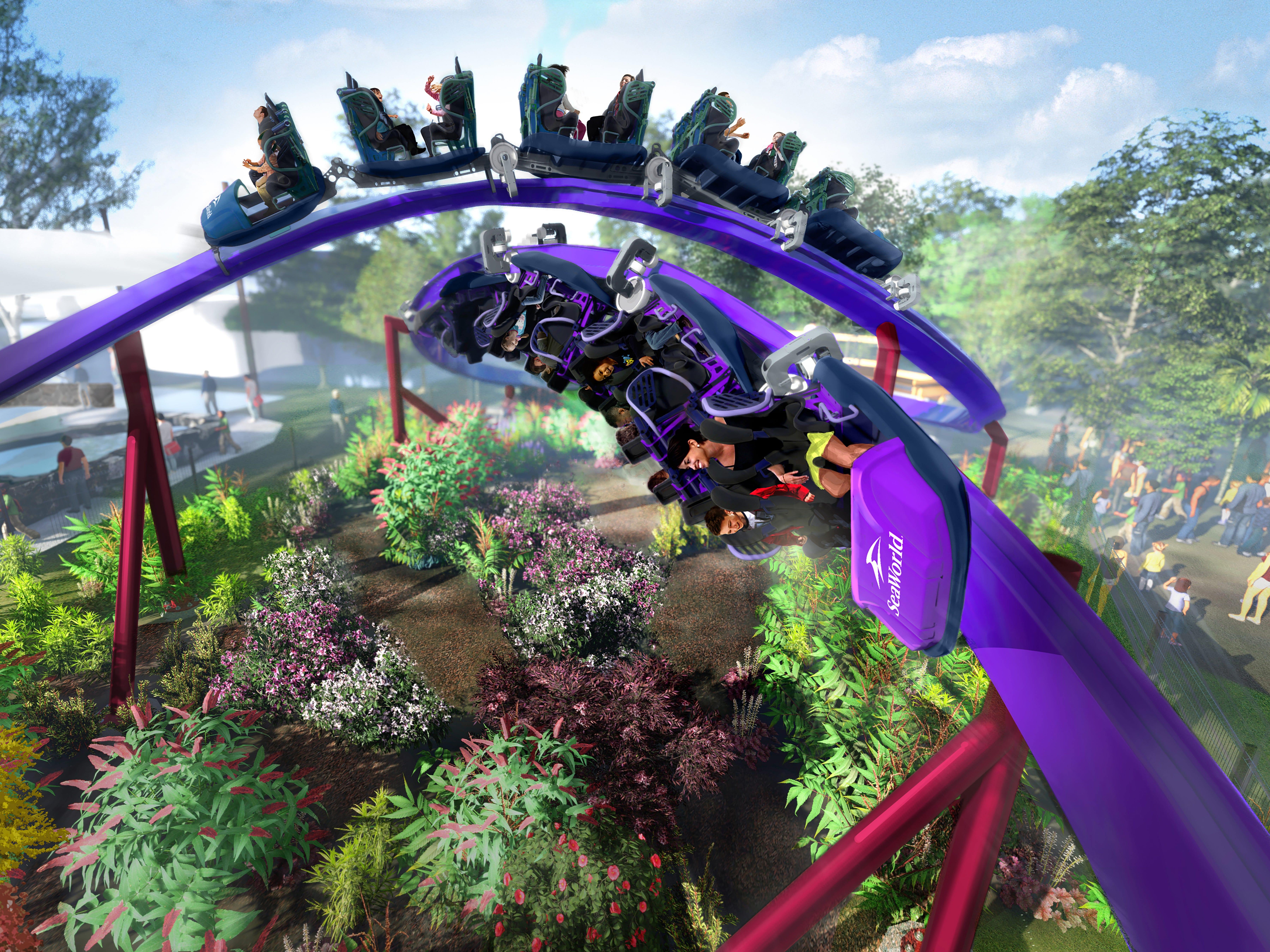 Tidal Twister at SeaWorld San Diego: It will appear that two trains will be barreling toward and narrowly averting each other. In reality, the first-of-its-kind Tidal Twister will feature two sets of cars mounted on one long train with that will span the entire length of a 320-foot, horizontal, figure-8 track. Passengers will face both forward and backward, and the train will travel both directions as it revs up to 30 mph.