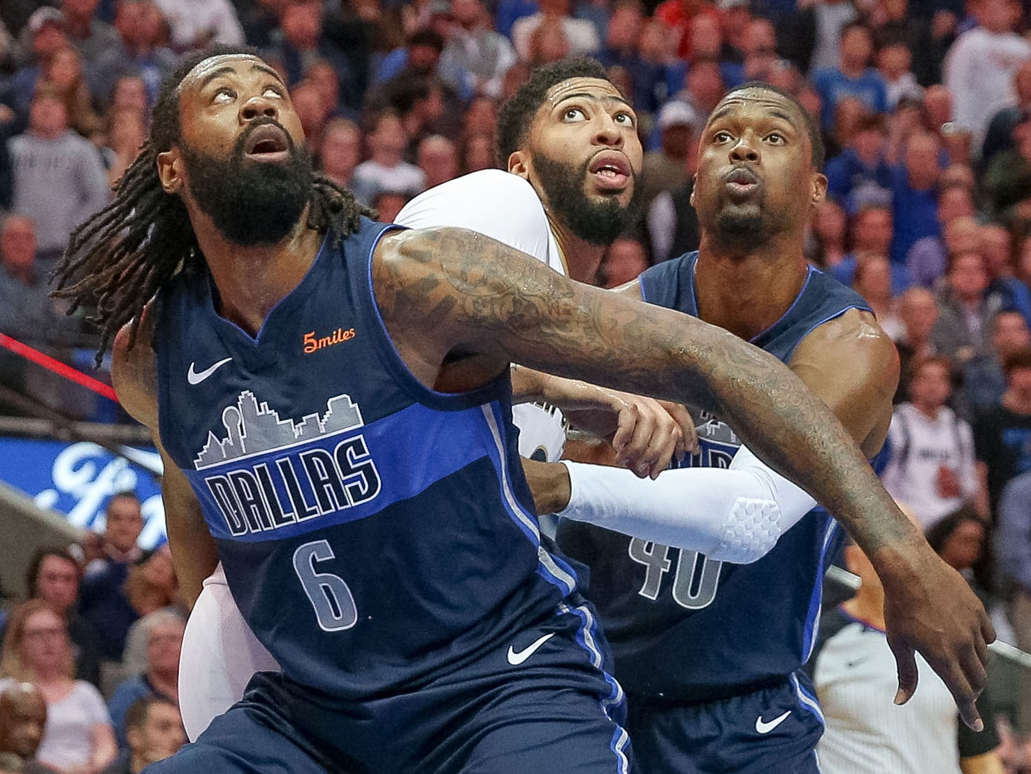 Dec. 26: Mavericks defenders DeAndre Jordan (6) and Harrison Barnes (40) try to box out Pelicans forward Anthony Davis (23) during the second half in Dallas.