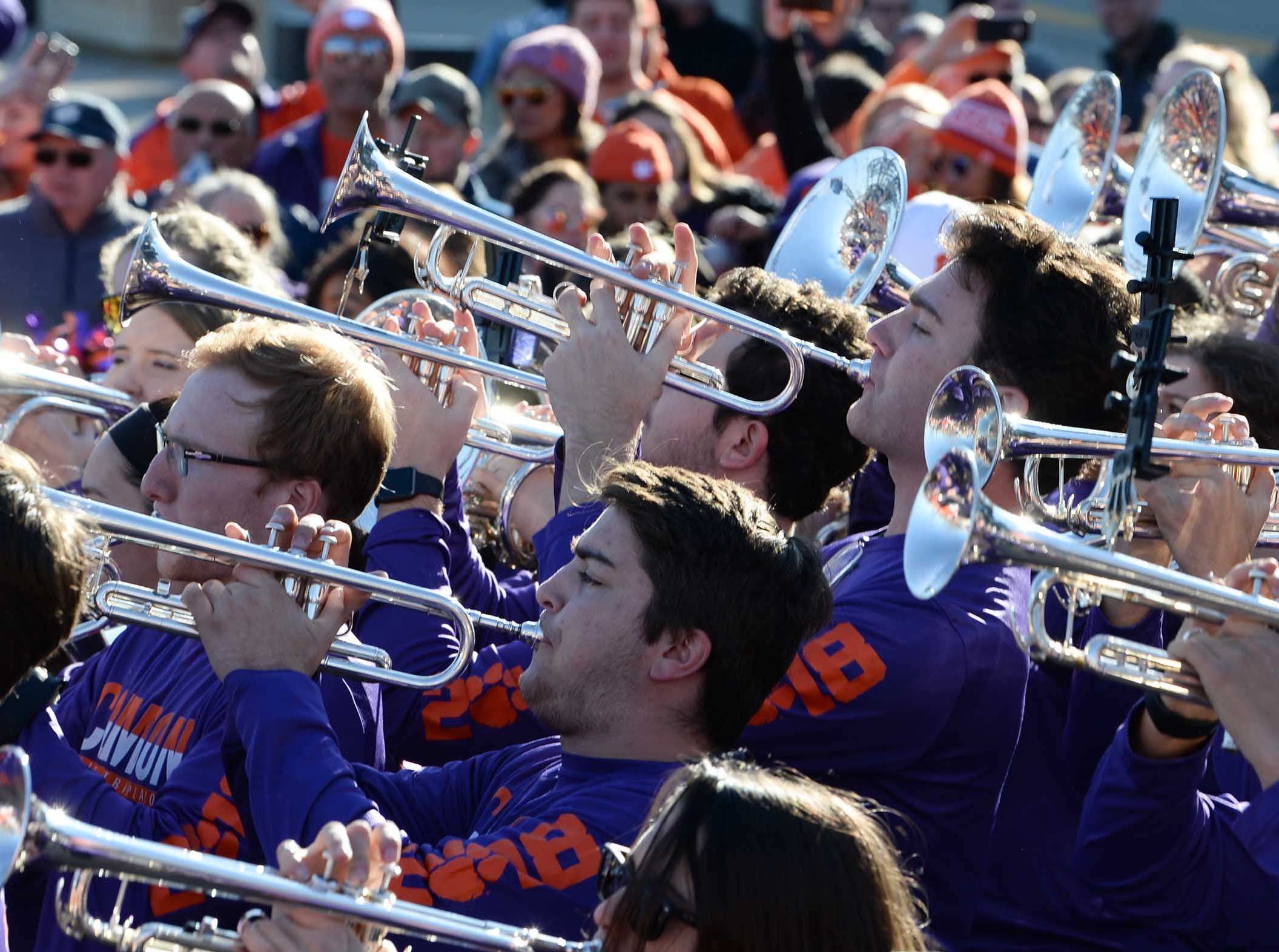 Clemson and Notre Dame Marching Bands, fans, cheerleaders, Rally Cats, and twirlers join in at the Battle of the Bands competition in Arlington, Texas December 28, 2018.
