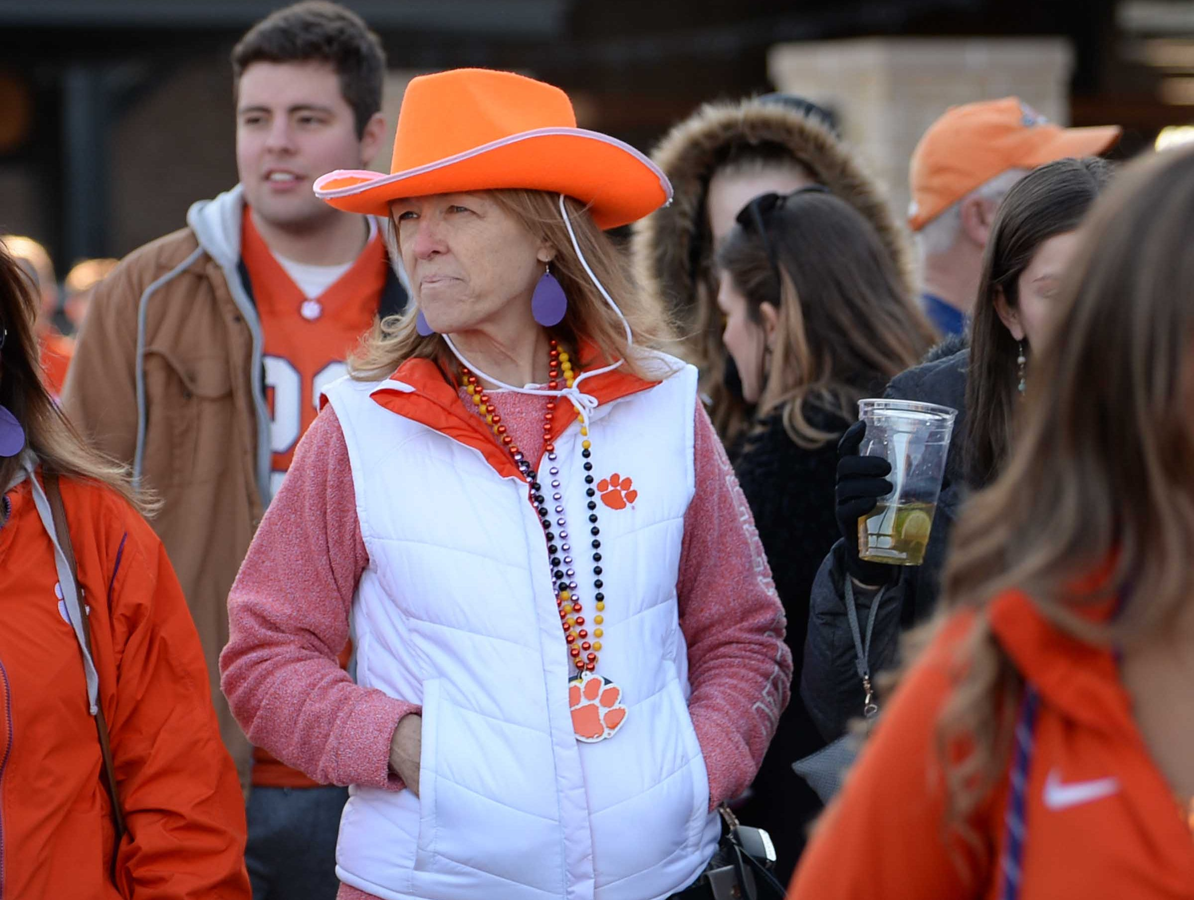 Lindsey Treglia of Clemson wears an orange cowboy hat at the Battle of the Bands competition in Arlington, Texas December 28, 2018.