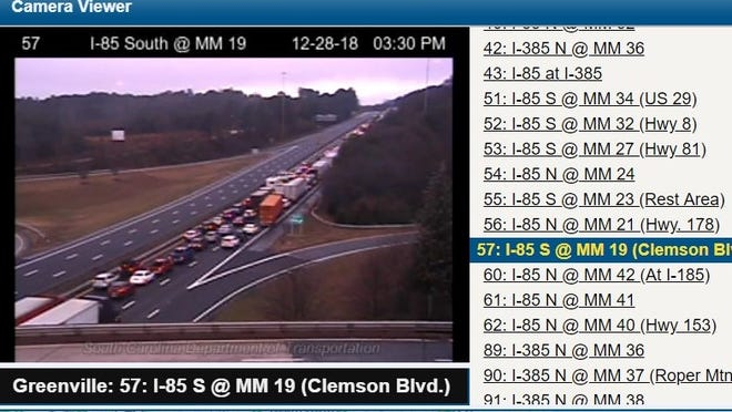 A wreck on Interstate 85 has snarled traffic near mile marker 16 and past exit 19.