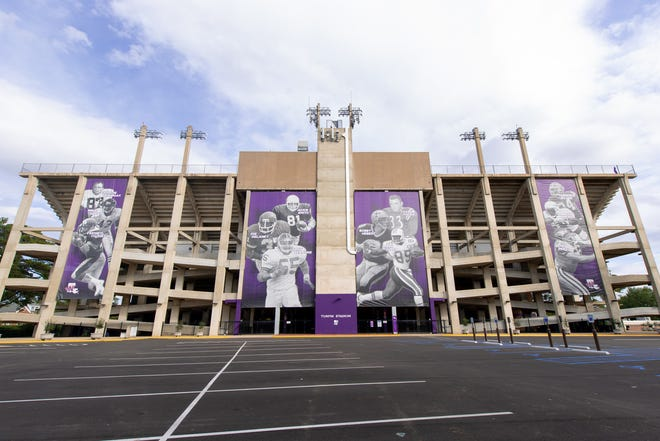 The revamped front entrance of Turpin Stadium, which features large banners honoring Northwestern State legends that were installed before the 2018 season.
