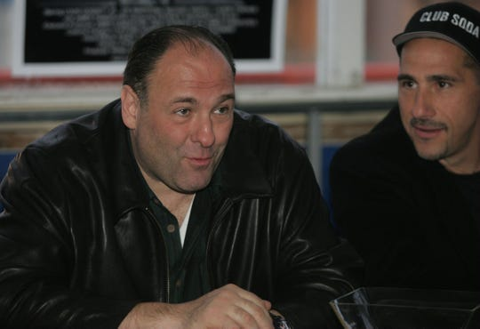 "On March 24, 2007, actor James Gandolfini and director Paul Carafotes at a press conference after the screening of the film ""Club Soda"" as part of the Garden State Film Festival in Asbury Park."