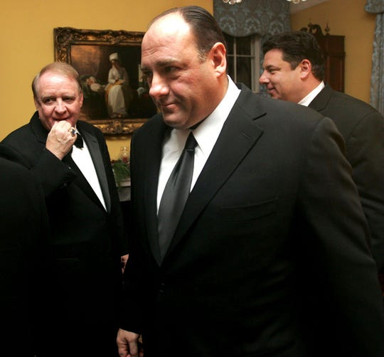 "Acting Governor of  New Jersey, Richard J. Codey, left, looks on  after welcoming cast members of the HBO drama series ""The Sopranos""  James Gandolfini,  center, and Steve R. Schirripa at the Drumthwacket Governors home in Princeton, Dec. 9, 2005."