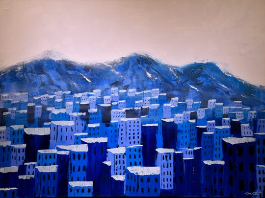 """Silent City"" by Don Boston, acrylic on stretched canvas, on display in the show ""Winter"" at the Center for Contemporary Art."