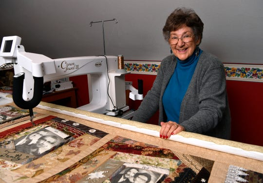 Carolyn Atkins in the quilting room of her home near Lawn.
