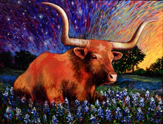 """""""Stars Are Big & Bright... Deep in the Heart of Texas"""" by Laurieann Dygowski of Rowlett. The acrylic paining was on display in the Center for Contemporary Arts' National Juried Competition."""