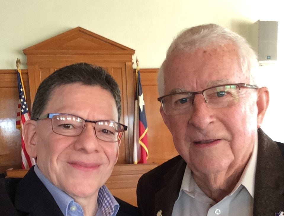 Paul R. Matta meets with his friend Callahan County Judge Roger Corn, who recently retired after 20 years of service. Corn was the longest sitting county judge of Callahan County since 1877.