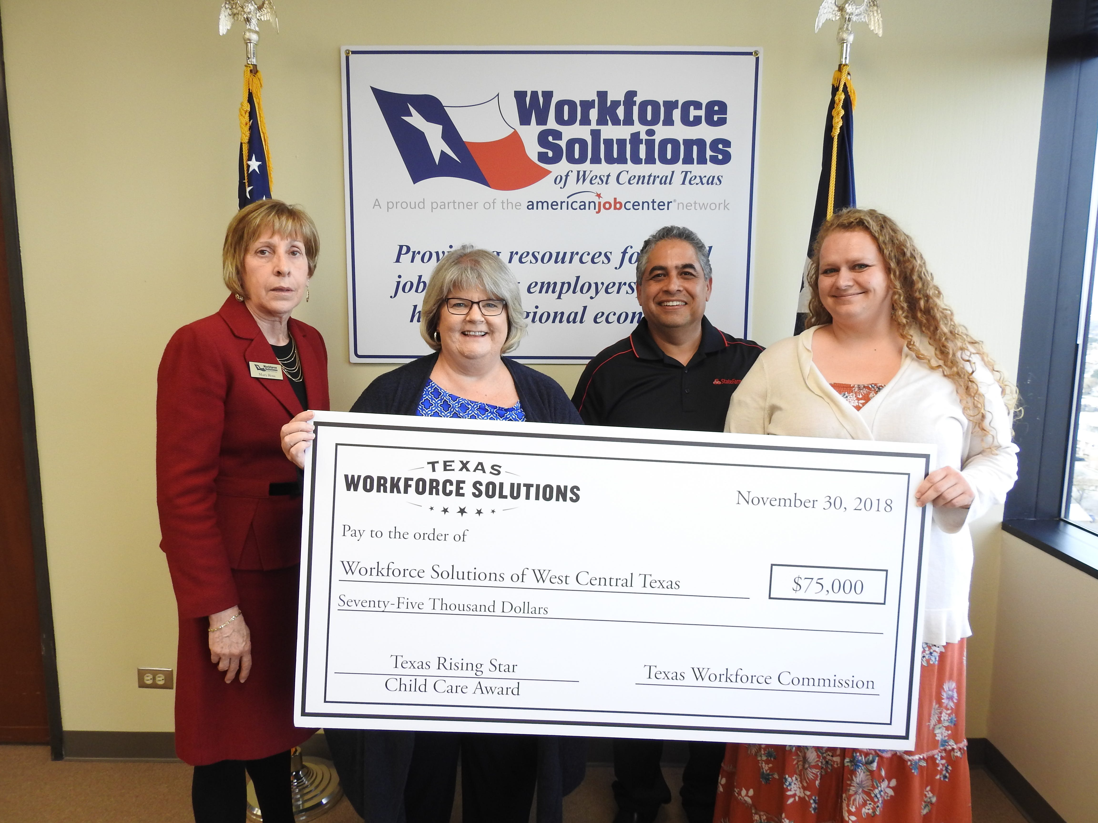 Workforce Solutions of West Central Texas was recently awarded $75,000 Texas Rising Star Award for its collaboration with the city of Abilene to create a nature play and educational area for visitors to Kirby Lake Park. From left: Mary Ross, executive director Workforce Solutions board; Lisa Colyer Workforce Development Board childcare contract manager; Samuel Garcia, local workforce board chairman; and Mindy Ross, childcare quality specialist.