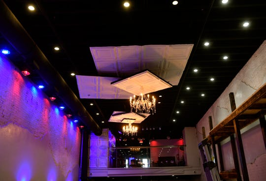 The ceiling of The Hallows, a new nightclub on Pine Street.
