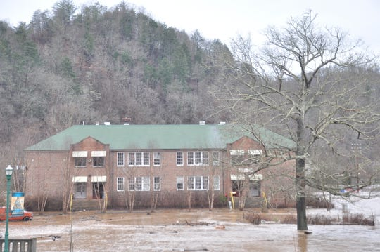 Floodwaters threatened Marshall High Studios, located on Blannahassett Island in the middle of the French Broad River in Marshall, by noon Friday, December 28.
