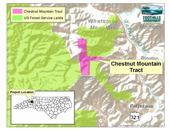 Chestnut Mountain property conserved by Foothills Conservancy off US 321 near Blowing Rock.