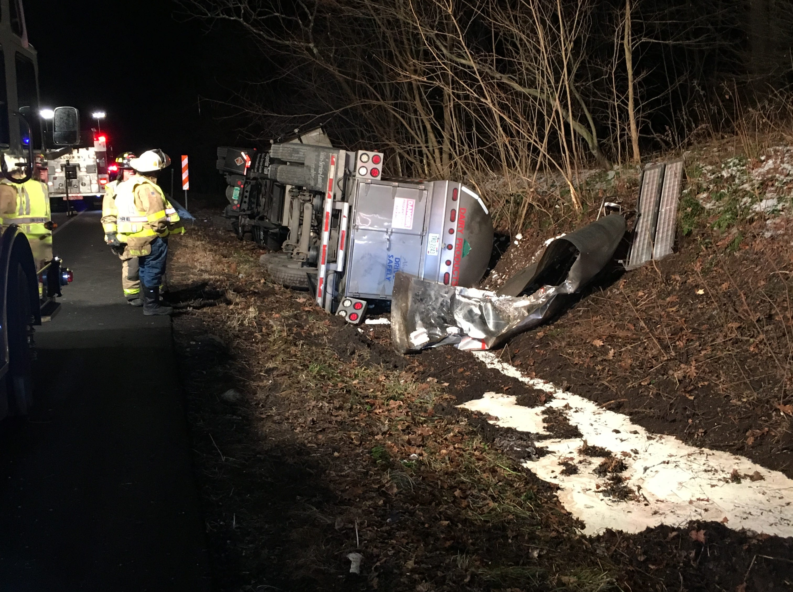 A milk tanker crashed Thursday  in Delaware County.