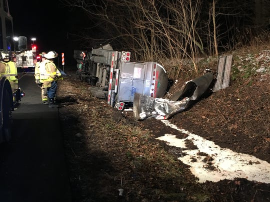 A milk tanker crashed Thursday  in Delaware County.