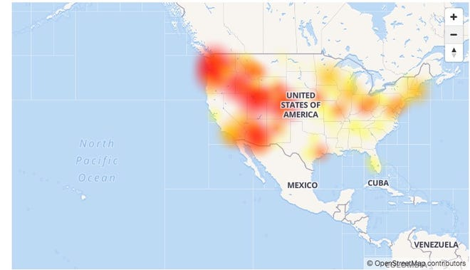 CenturyLink's Internet service outage remained widespread on the morning of Dec. 28, 2018. The company said the issues was resolved Dec. 29, 2018, but customers were still reporting problems.