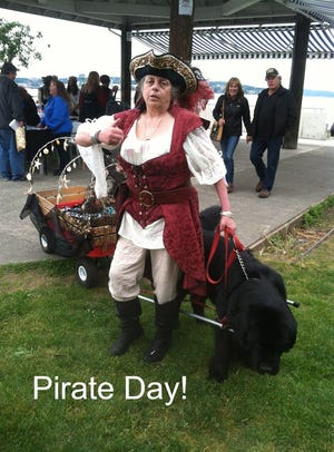 KT Arthur at a city of Port Orchard event with her Newfoundland Aragorn. KT died June 19, 2018, of liver failure from chronic alcohol abuse. She was 59. Her son Ted wants her death to serve as a wake-up call to other families of loved ones battling addiction.