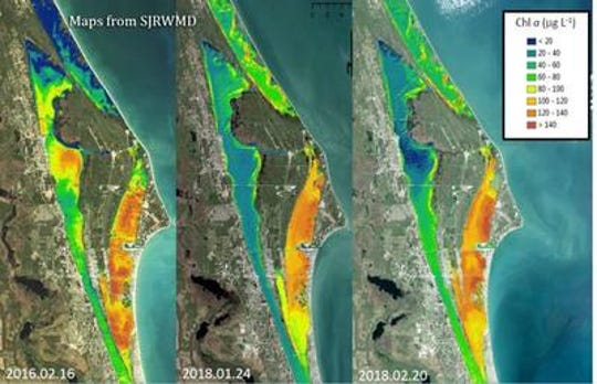 Satellite photos last March showed the Indian River Lagoon experiencing similar conditions that led up to the bad algae bloom in 2016, which resulted in one of the worst fish kills in lagoon history. St. Johns River Water Management District