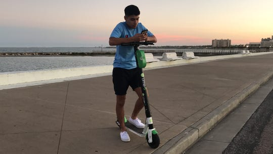 The motorized scooters found across Corpus Christi can be accessed through the companies app.