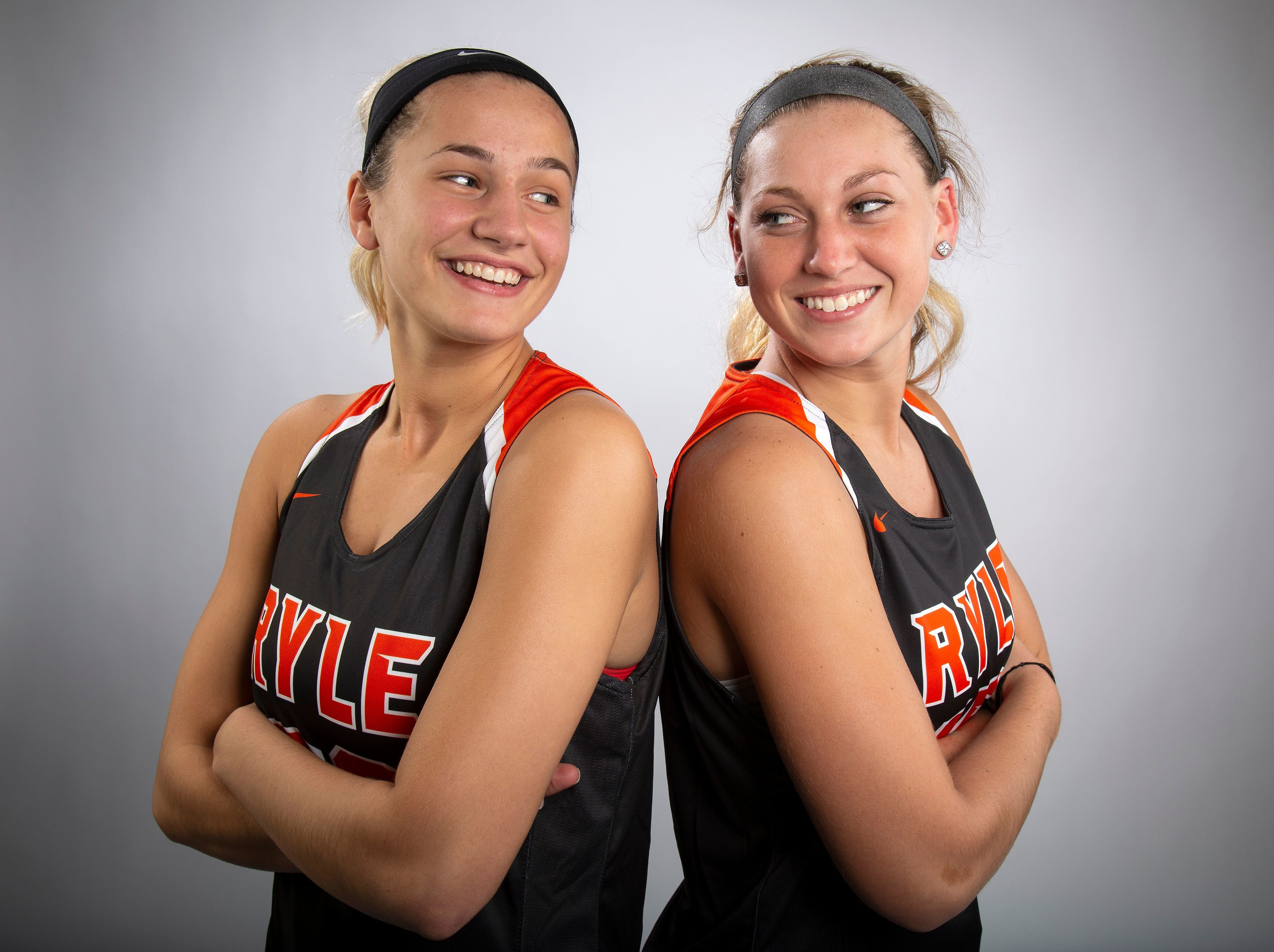 Maddie Scherr (left) and Lauren Schwartz of Ryle High School teamed up to average 34 points and 15 rebounds per game last season.