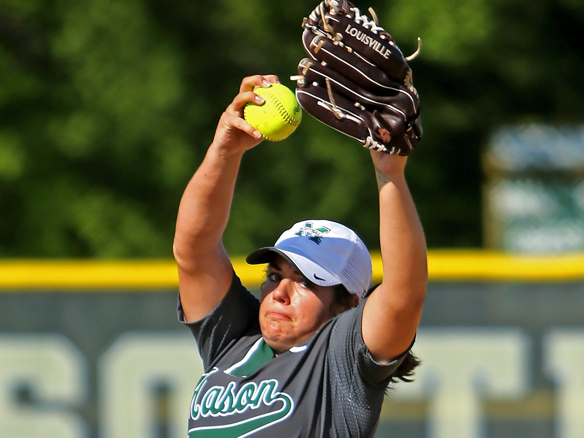 Mason's Elle Buffenbarger pitches a complete game shutout against Anderson. Mason defeated Anderson 13-0 in 5 innings.