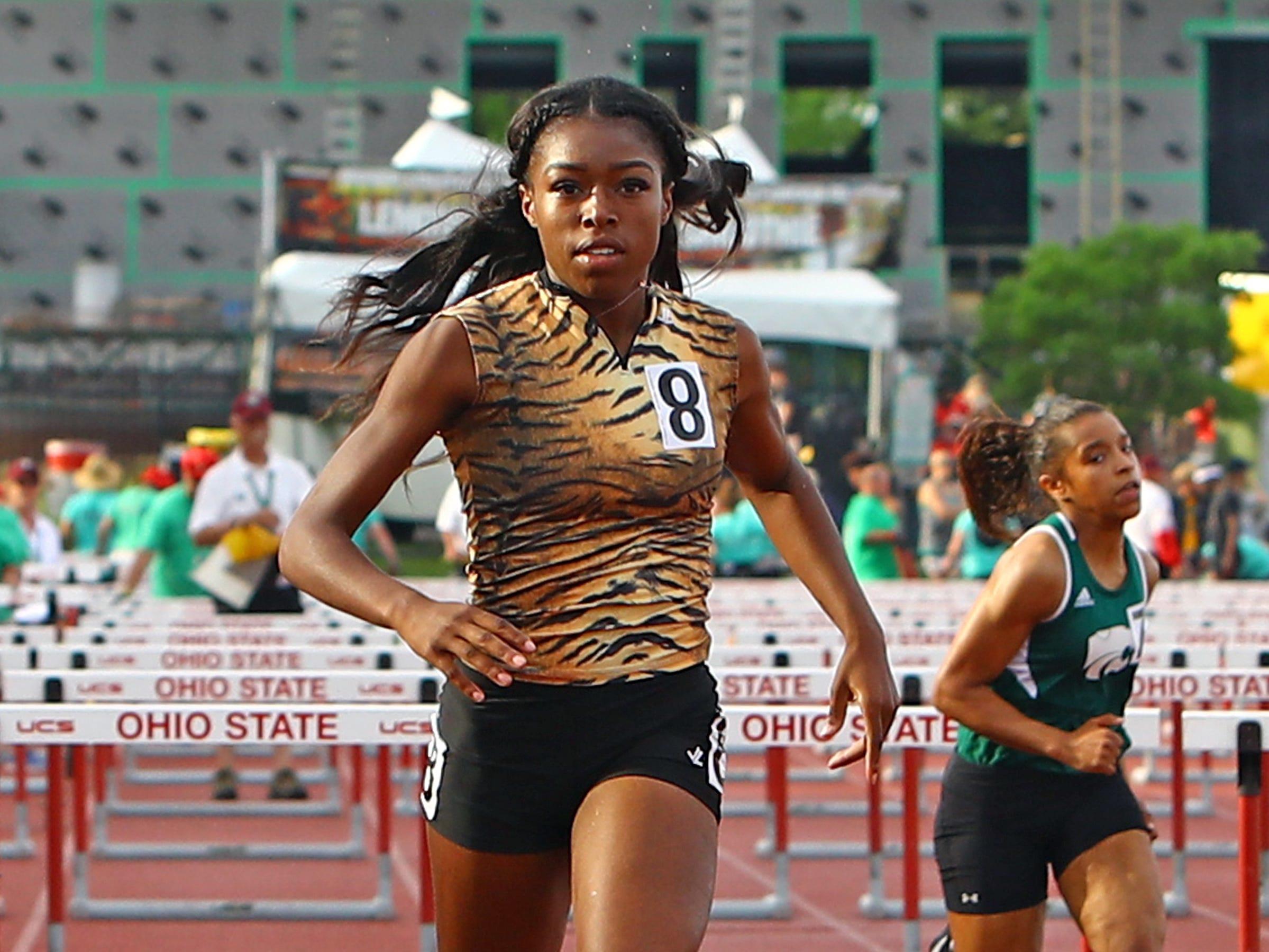 Withrow's J'Alyiea Smith wins her heat in the 100 meter hurdles.