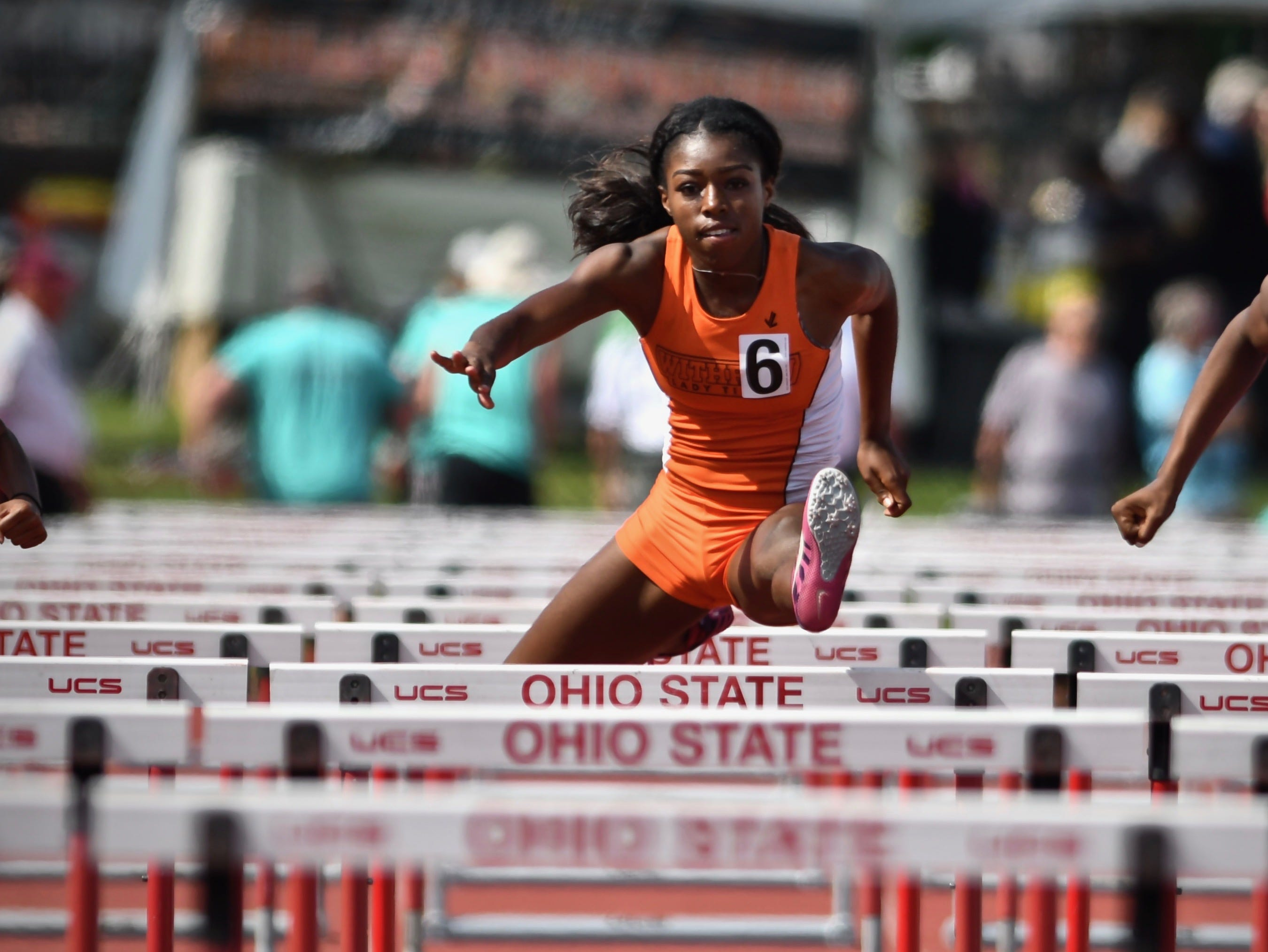 Withrow's J'Alyiea Smith captures the State Championship in the girl's 100 meter hurdles Saturday, June 2nd at the State Track and Field Championships at Jesse Owens Memorial Stadium