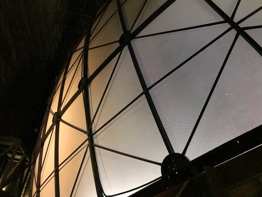 This is the view of the new Omnimax screen from behind the dome. The Cincinnati Museum Center reopened the theater Friday.