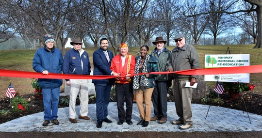 Union County Freeholder Chairman Sergio Granados joined Union County Office of Veteran Services Coordinator Janna Williams and military veterans at the ribbon cutting marking the restoration of the Rahway Memorial Grove, a World War II memorial located in Union County's Rahway River Park in Rahway. The restoration was coordinated by the Office of Veteran Services, which was established as one of Chairman Granados's initiatives for 2018 to expand Union County's engagement with veterans, active duty military, and military families. Visit www.ucnj.org/uc-hero.