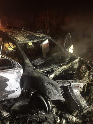 A Califon man's car burned moments after police notice smoke coming from the engine.