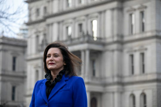 Michigan Governor Elect Gretchen Whitmer, stands infront of the Michigan State Capitol building in Lansing Thursday, Dec. 27, 2018.