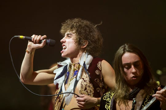 Greta Van Fleet's vocalist Josh Kiszka and guitarist Jake Kiszka perform at the Fox Theatre in downtown Detroit, Thursday, Dec. 27, 2018.